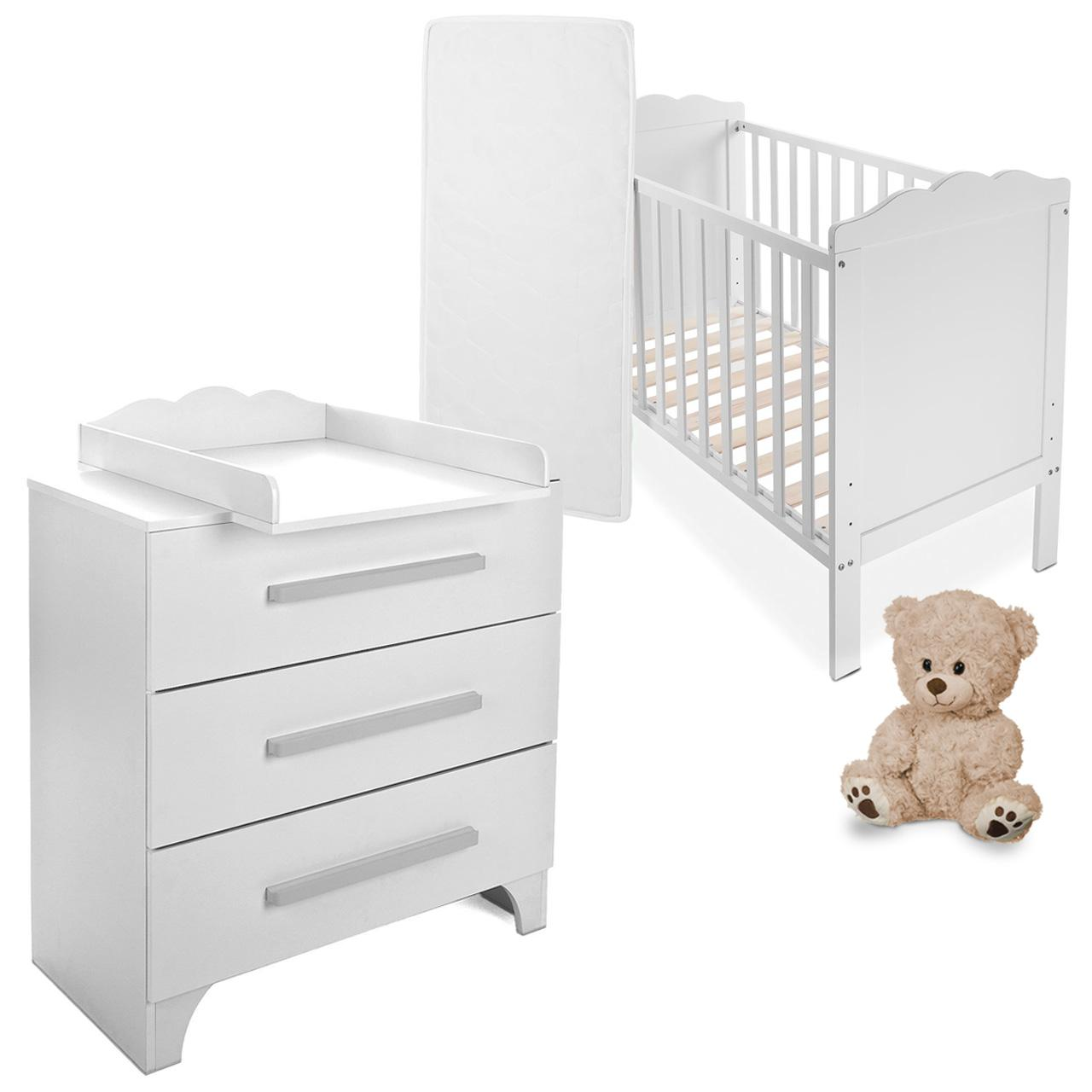 babyzimmer babybett mit wickelkommode gitterbett. Black Bedroom Furniture Sets. Home Design Ideas