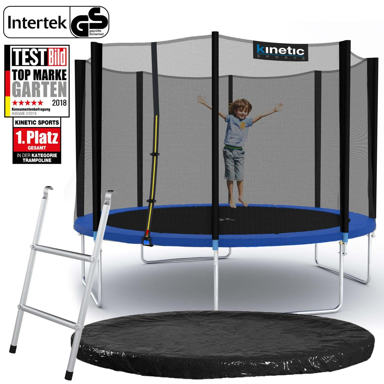 kinetic sports trampolin gartentrampolin mit zubeh r netz leiter regenplane set. Black Bedroom Furniture Sets. Home Design Ideas