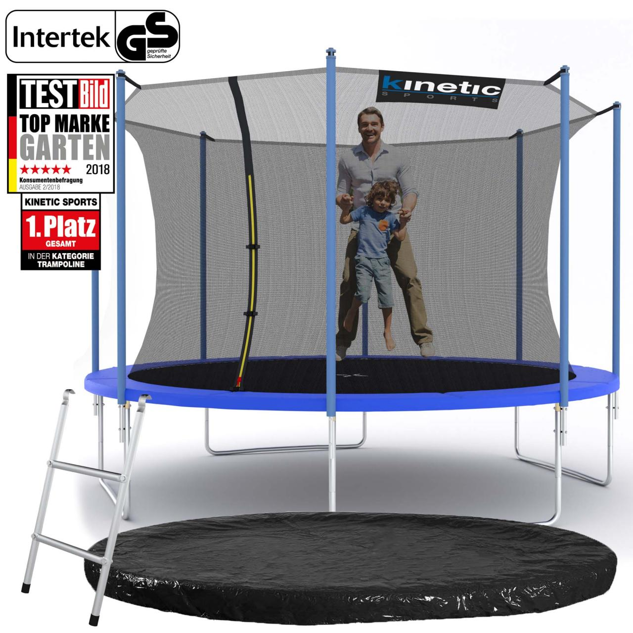 kinetic sports trampolin gartentrampolin mit zubeh r netz leiter regenplane set ebay. Black Bedroom Furniture Sets. Home Design Ideas