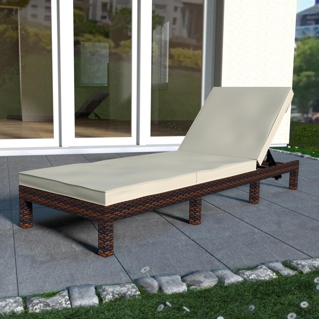 polyrattan sonnenliege garten liege rattan gartenm bel rattanm bel gartenliege ebay. Black Bedroom Furniture Sets. Home Design Ideas