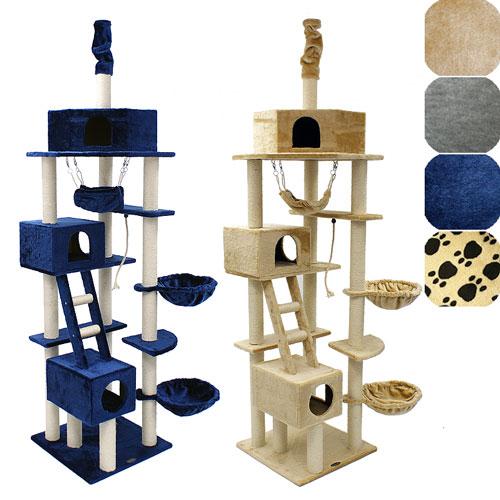 cat015 xxl kratzbaum deckenhoch beige blau grau neu ebay. Black Bedroom Furniture Sets. Home Design Ideas