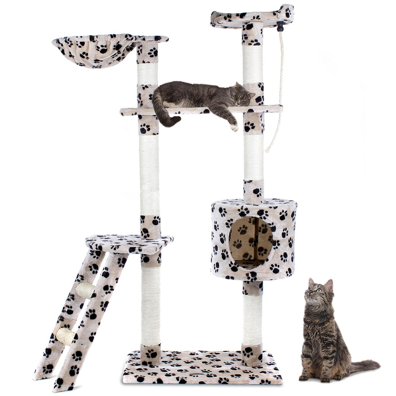 arbre chat griffoir grattoir 152cm diverses couleurs happypet cat016 2 neuf ebay. Black Bedroom Furniture Sets. Home Design Ideas