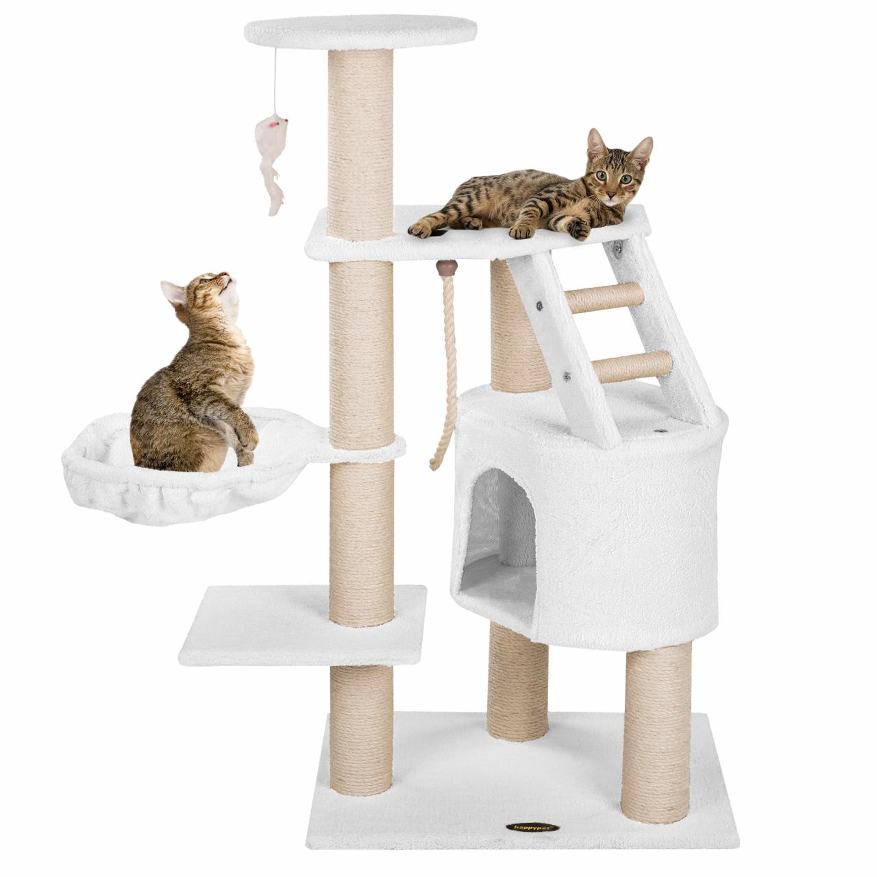 arbre chat griffoir grattoir 120cm diverses couleurs happypet cat017 neuf ebay. Black Bedroom Furniture Sets. Home Design Ideas