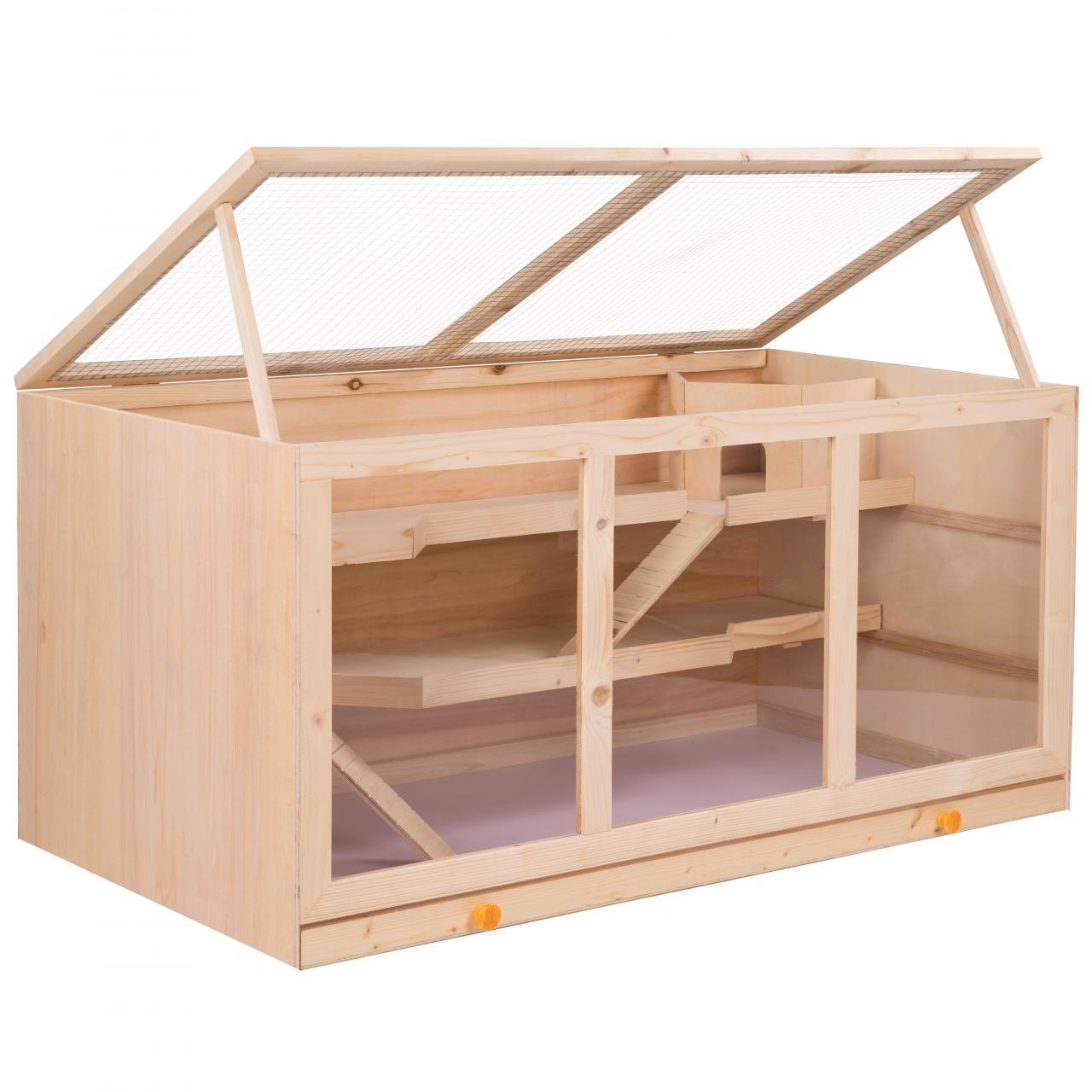 Hamsterkaefig-Kleintierkaefig-Rattenkaefig-Maeusekaefig-Nagerstall-Kaefig-Holz-Stall
