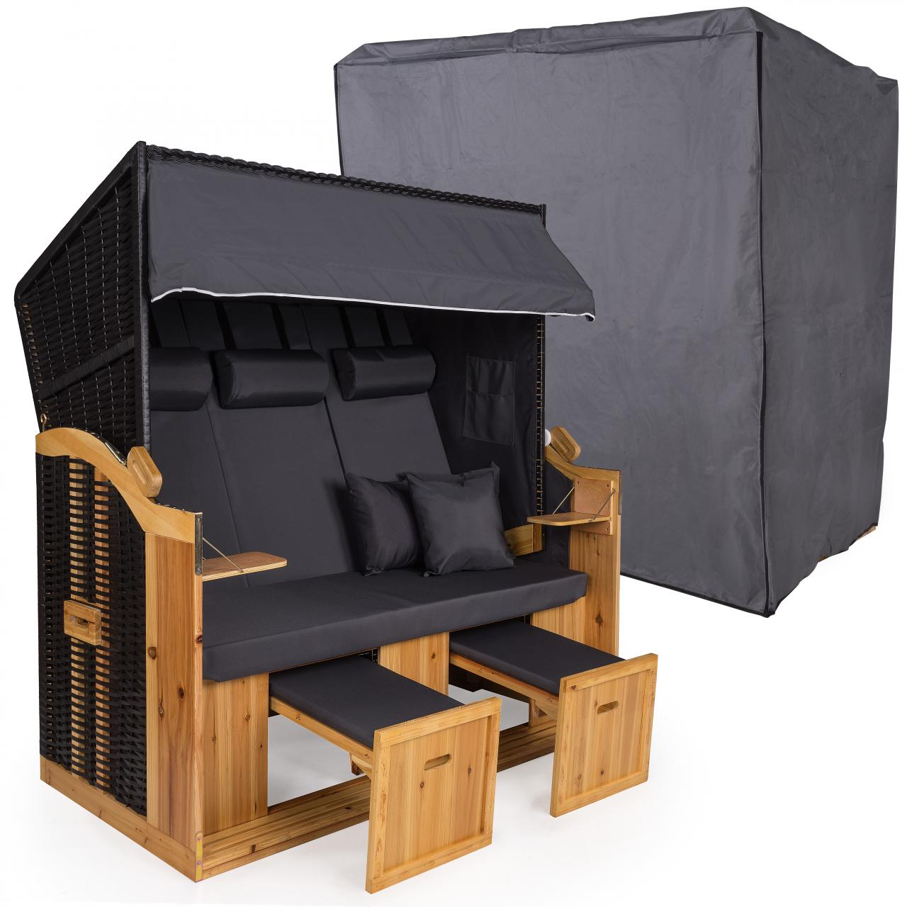strandkorb xxl 160cm inklusive schutzh lle 600d volllieger ostsee gartenm bel ebay. Black Bedroom Furniture Sets. Home Design Ideas