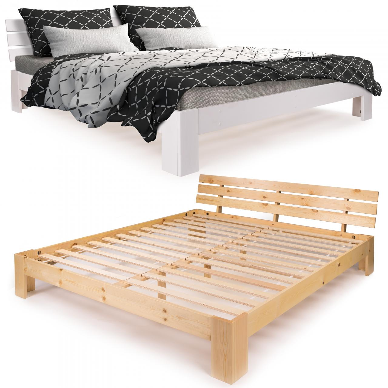 homelux holzbett kiefer doppelbett lattenrost bettrahmen bettgestell massiv ebay. Black Bedroom Furniture Sets. Home Design Ideas