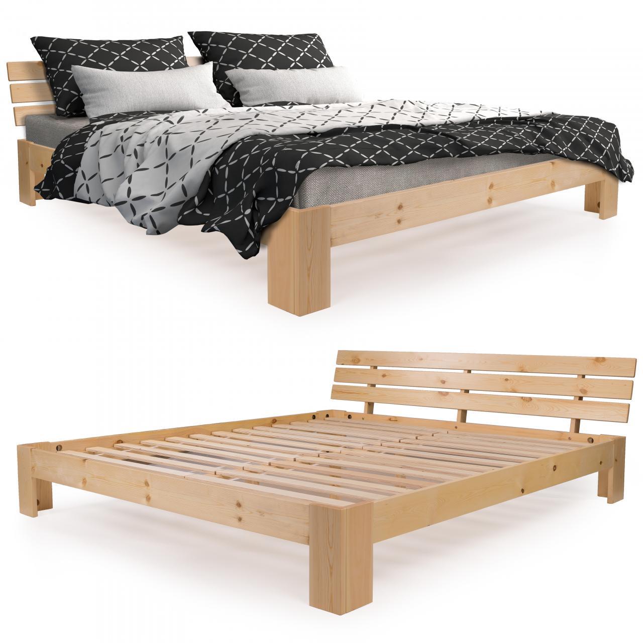 homelux holzbett kiefer doppelbett bettgestell bettrahmen. Black Bedroom Furniture Sets. Home Design Ideas