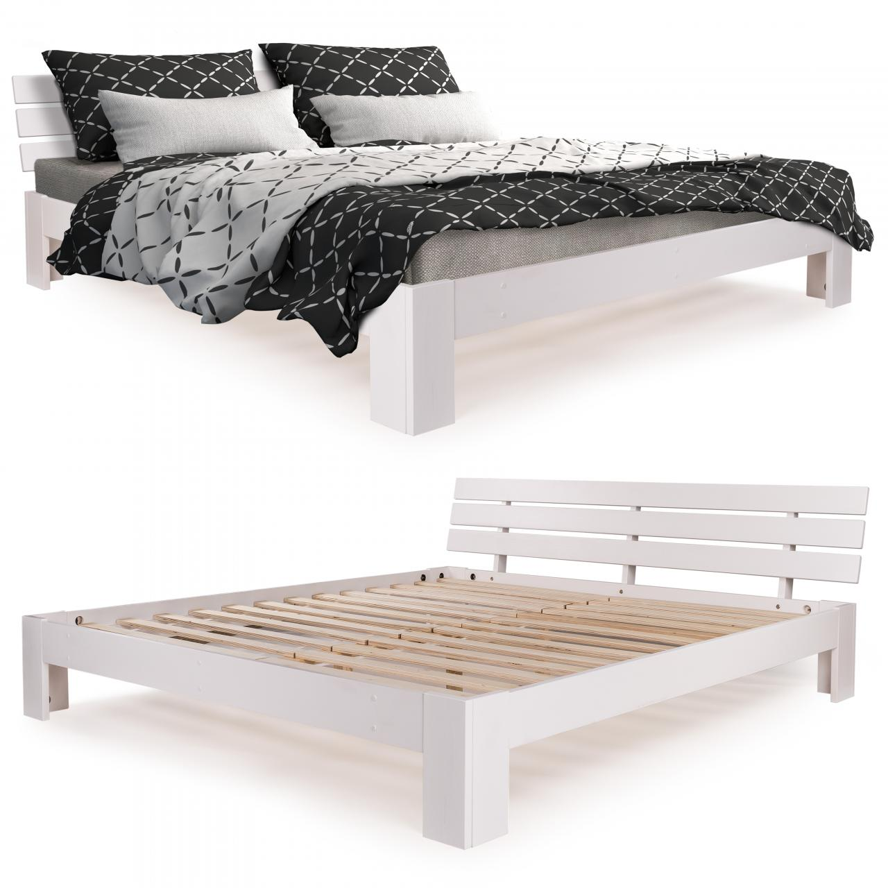 homelux holzbett kiefer doppelbett bettgestell bettrahmen lattenrost massiv ebay. Black Bedroom Furniture Sets. Home Design Ideas