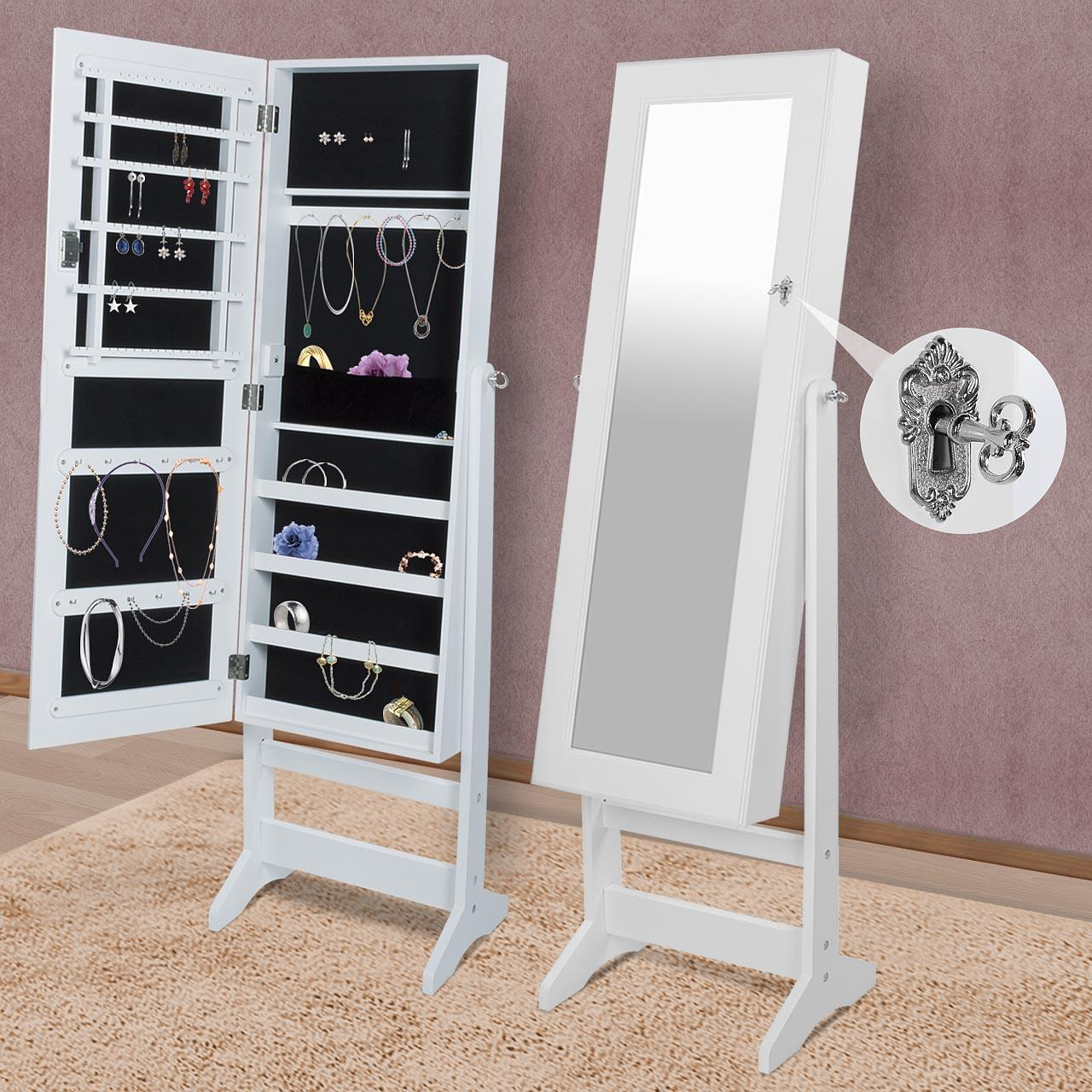spiegel schmuckschrank schmuck spiegelschrank standspiegel schmuckkasten wei ebay. Black Bedroom Furniture Sets. Home Design Ideas