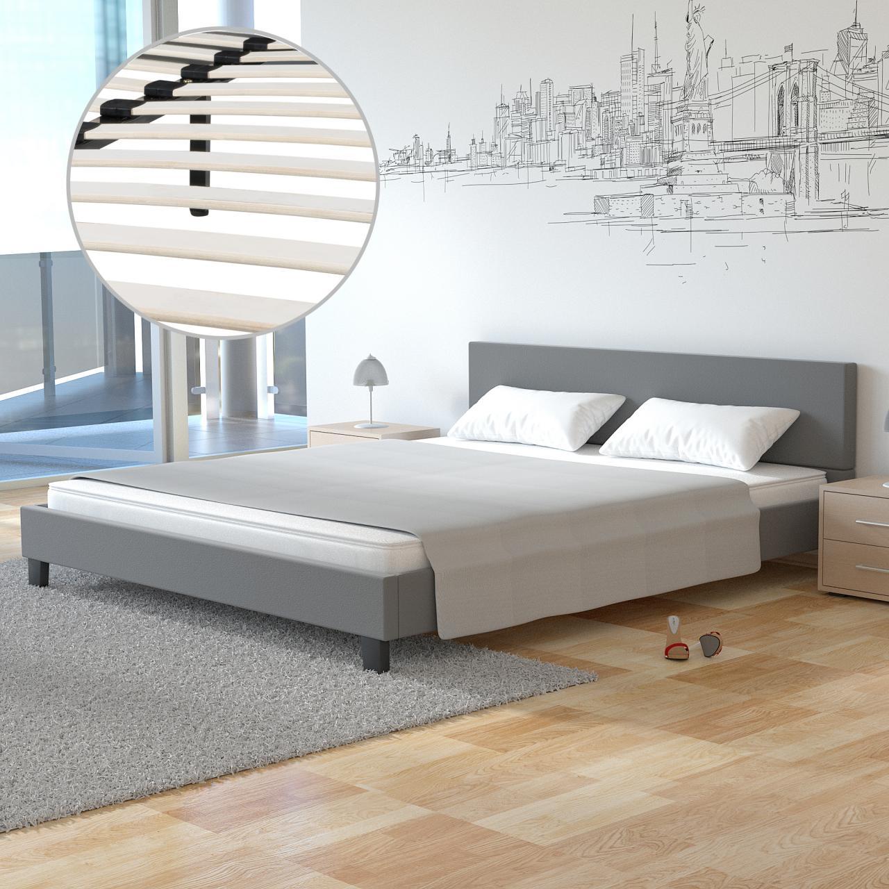 polsterbett doppelbett design bettgestell bettrahmen mit lattenrost bett ebay. Black Bedroom Furniture Sets. Home Design Ideas