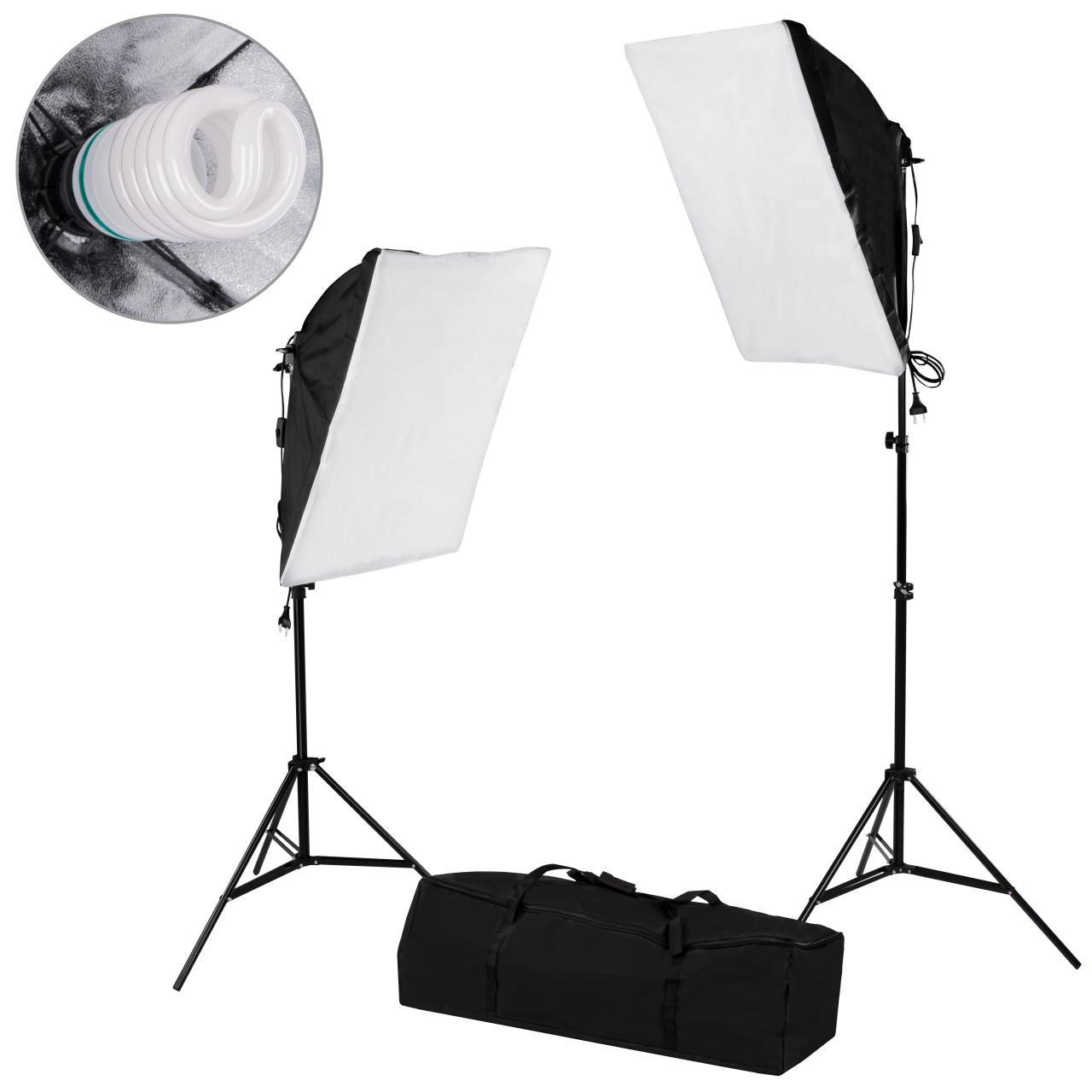 2 er set fotostudio studio lampe leuchte beleuchtung softbox tragetasche 55w ebay. Black Bedroom Furniture Sets. Home Design Ideas