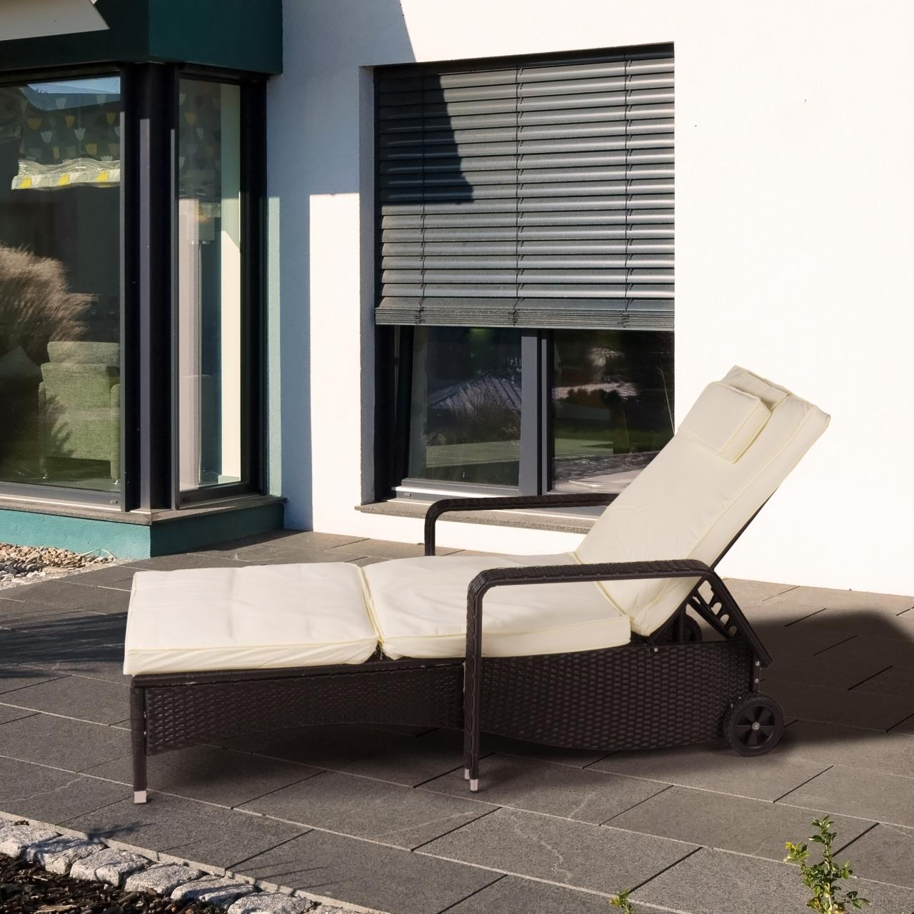 polyrattan sonnenliege gartenliege rattan garten liege rattanm bel gartenm bel ebay. Black Bedroom Furniture Sets. Home Design Ideas