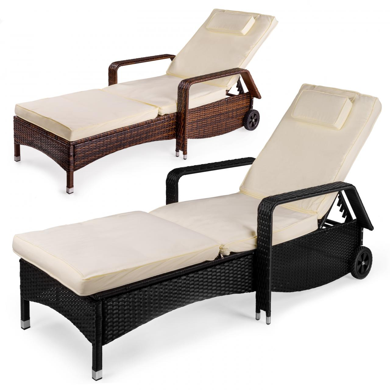 polyrattan sonnenliege gartenliege garten rattan liege gartenm bel rattanm bel ebay. Black Bedroom Furniture Sets. Home Design Ideas
