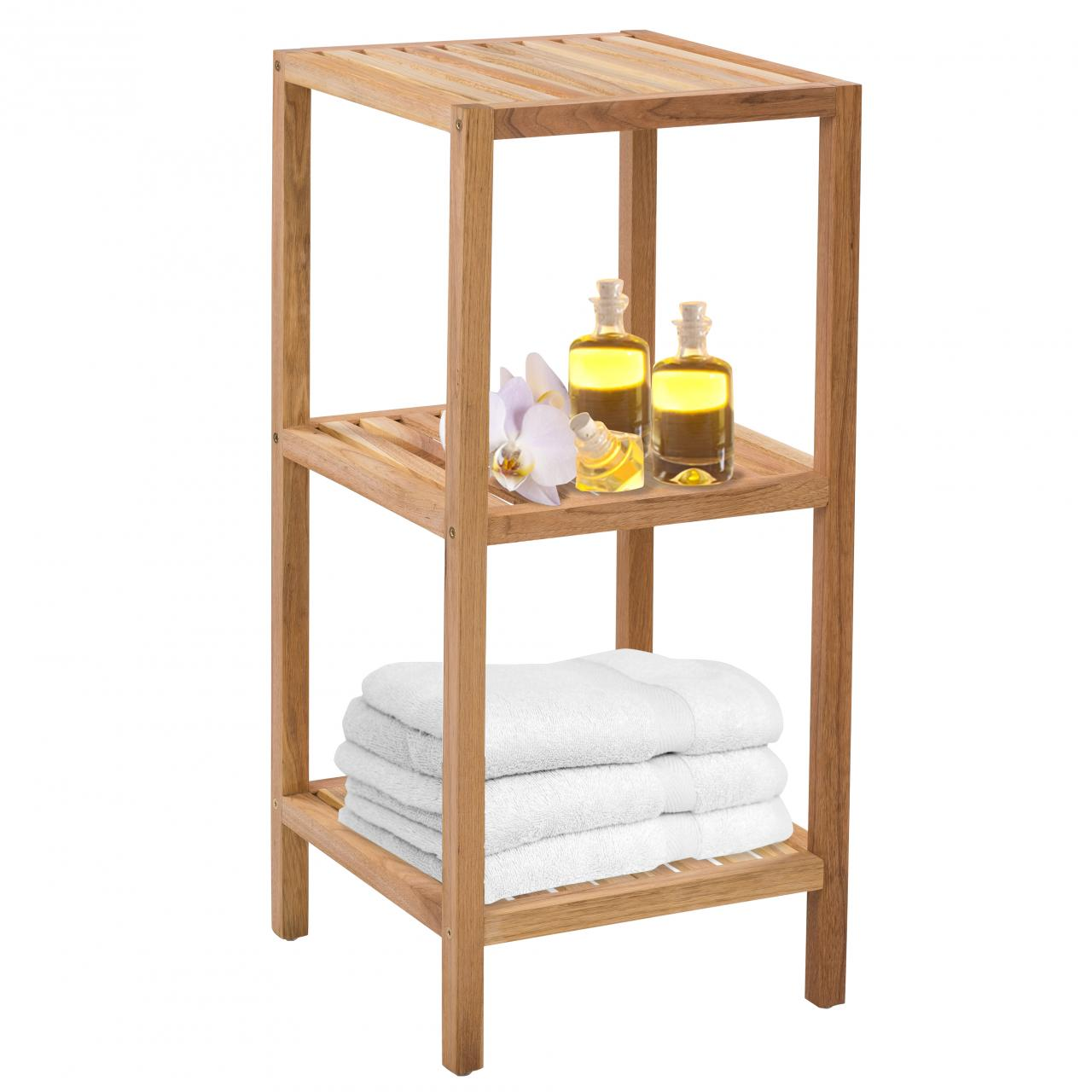 Badregal holz badezimmerregal haushaltsregal standregal regal bad holzregal ebay - Standregal badezimmer ...